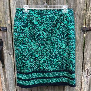 Ann Taylor Lined Green/ Navy Skirt